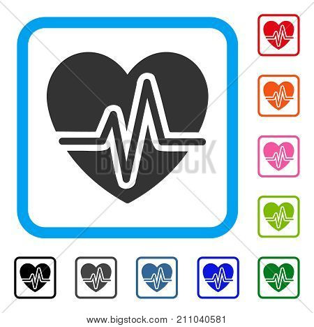 Heart Pulse icon. Flat gray pictogram symbol inside a light blue rounded squared frame. Black, gray, green, blue, red, orange color versions of Heart Pulse vector.