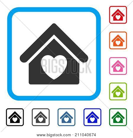 Hospice icon. Flat gray pictogram symbol in a light blue rounded frame. Black, gray, green, blue, red, orange color versions of Hospice vector. Designed for web and app interfaces.