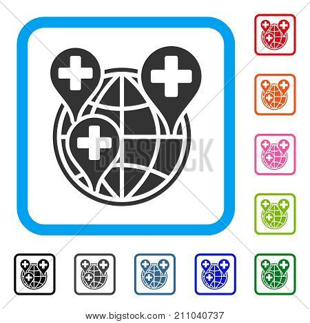 Hospital Global Network Markers icon. Flat gray iconic symbol inside a light blue rounded frame. Black, gray, green, blue, red, orange color variants of Hospital Global Network Markers vector.