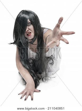 Mystical Ghost Woman In White Long Shirt Reach Out Her Hand