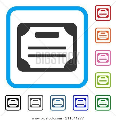 License icon. Flat grey pictogram symbol in a light blue rounded squared frame. Black, gray, green, blue, red, orange color versions of License vector. Designed for web and software interfaces.