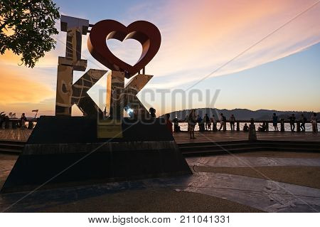 Kota Kinabalu, Malaysia - August 01, 2017: Back Lit Of The New Landmark