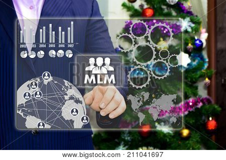 The Businessman Chooses Mlm, Multi-level Marketing On The Touch Screen, The Backdrop Of The Christma