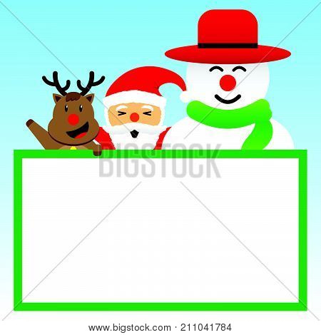 Vector Illustration Of Merry Christmas Three Companions Cute Reindeer Plump Santa Claus And Chubby Snowman Is Standing Together Happily Behind A Blank White Board On Blue Background