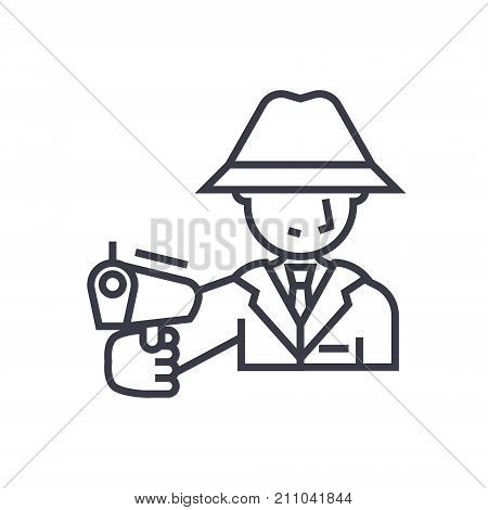 mafia, man with gun concept vector thin line icon, sign, symbol, illustration on isolated background