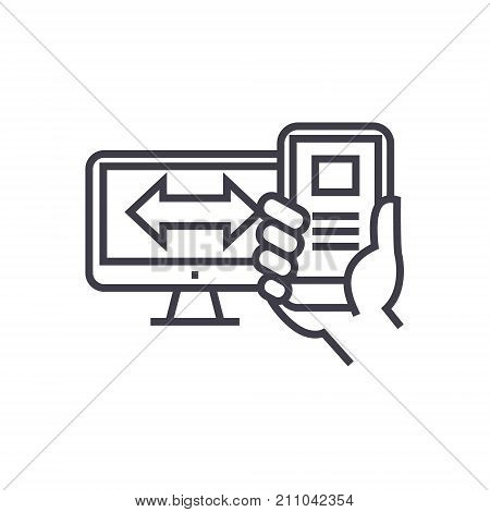 responsive design concept vector thin line icon, sign, symbol, illustration on isolated background