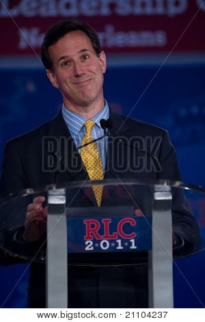 NEW ORLEANS, LA - JUNE 17: Presidential candidate Rick Santorum addresses the Republican Leadership Conference on June 17, 2011 at the Hilton Riverside New Orleans in New Orleans, LA.