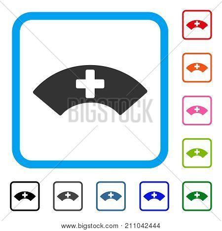 Medical Visor icon. Flat grey pictogram symbol in a light blue rounded rectangular frame. Black, gray, green, blue, red, orange color variants of Medical Visor vector.