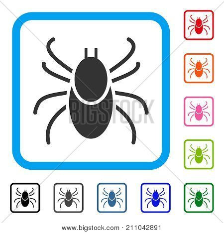 Mite Tick icon. Flat grey pictogram symbol in a light blue rounded rectangular frame. Black, gray, green, blue, red, orange color additional versions of Mite Tick vector.