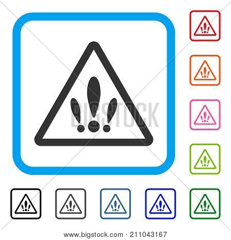 Multiple Problems icon. Flat grey pictogram symbol inside a light blue rounded square. Black, gray, green, blue, red, orange color additional versions of Multiple Problems vector.