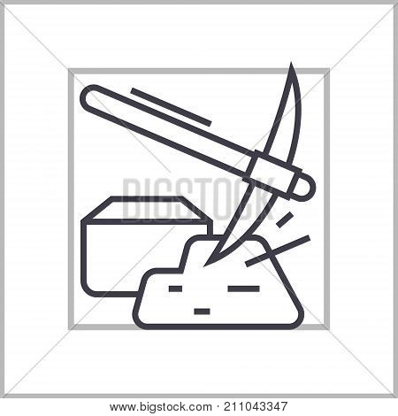 mining hummer with gold concept vector thin line icon, sign, symbol, illustration on isolated background
