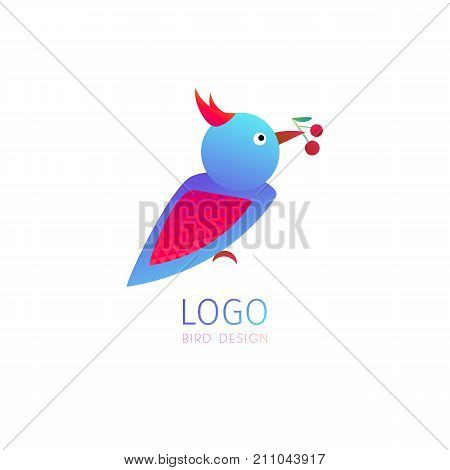 Vector logo of stylized bird on white isolated background. Titmouse or sparrow icon for business design, nature concept, greeting cards, print, flyers, web.