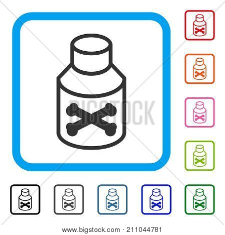 Poison Phial icon. Flat gray iconic symbol inside a light blue rounded squared frame. Black, gray, green, blue, red, orange color versions of Poison Phial vector.