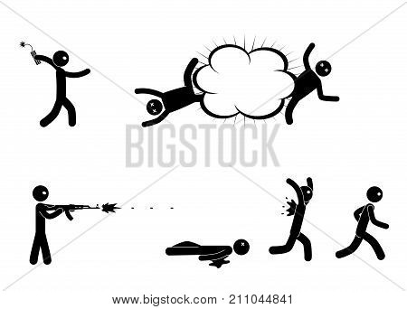 Terrorists with bomb and machine gun. Terrorist bomber. Man with explosives. Terrorism world threat concept. Vector illustration.