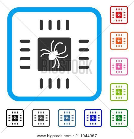 Processor Bug icon. Flat gray iconic symbol inside a light blue rounded square. Black, gray, green, blue, red, orange color variants of Processor Bug vector.