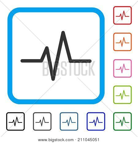 Pulse Curve icon. Flat grey pictogram symbol inside a light blue rounded squared frame. Black, gray, green, blue, red, orange color variants of Pulse Curve vector.