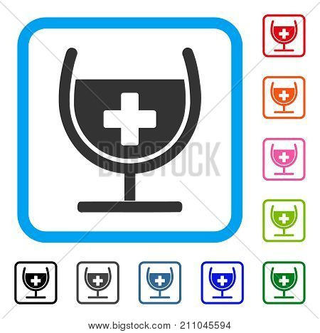 Remedy Syrup Glass icon. Flat gray pictogram symbol inside a light blue rounded rectangle. Black, gray, green, blue, red, orange color variants of Remedy Syrup Glass vector.