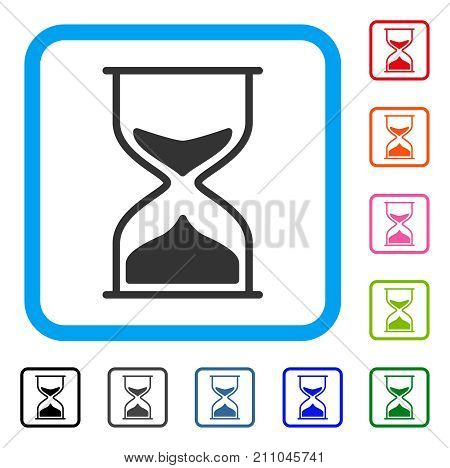 Sand Glass icon. Flat gray pictogram symbol in a light blue rounded square. Black, gray, green, blue, red, orange color variants of Sand Glass vector. Designed for web and application UI.