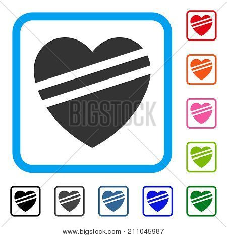 Sick Heart icon. Flat gray iconic symbol inside a light blue rounded frame. Black, gray, green, blue, red, orange color additional versions of Sick Heart vector. Designed for web and software UI.