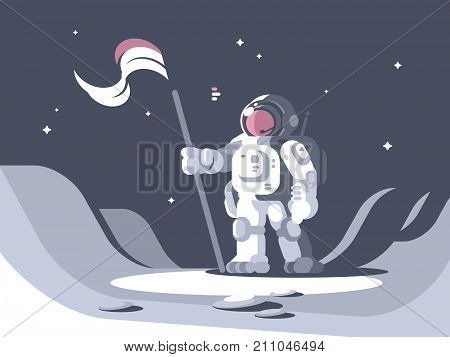 Astronaut character in spacesuit on surface of moon with flag. Vector illustration