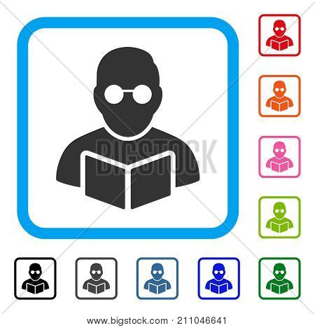 Student Read Book icon. Flat grey iconic symbol inside a light blue rounded rectangle. Black, gray, green, blue, red, orange color additional versions of Student Read Book vector.