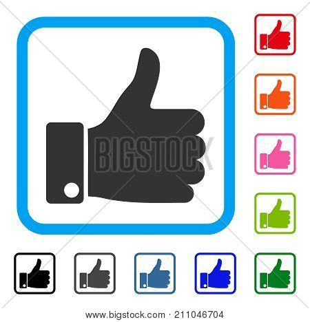 Success Thumb Up icon. Flat grey pictogram symbol in a light blue rounded rectangle. Black, gray, green, blue, red, orange color additional versions of Success Thumb Up vector.