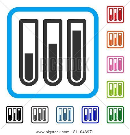 Test Tubes icon. Flat grey pictogram symbol inside a light blue rounded rectangle. Black, gray, green, blue, red, orange color variants of Test Tubes vector.