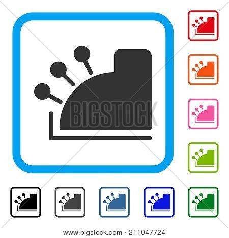 Cash Register icon. Flat grey iconic symbol in a light blue rounded square. Black, gray, green, blue, red, orange color variants of Cash Register vector. Designed for web and application interfaces.