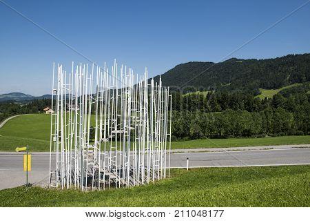 Krumbach Austria - July 22 2017: Busstop by architect Sou Fuijmoto in Krumbach Bregenzer Wald Austria.