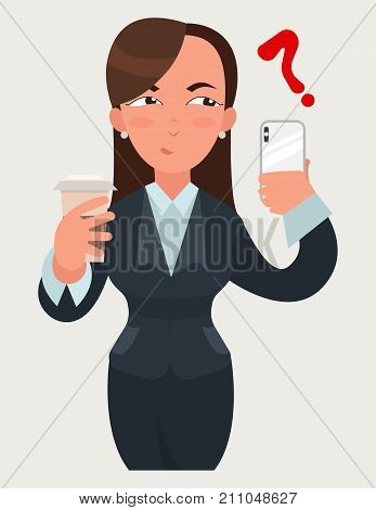 Business woman expressions. Woman with a coffee and a smartphone. Suspicious emotion.