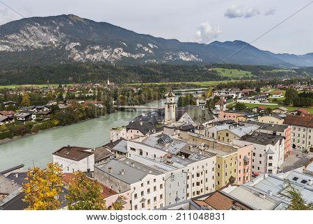 Rattenberg Austria - September 28 2017: Medieval Rattenberg with river Inn in Tirol Austria.