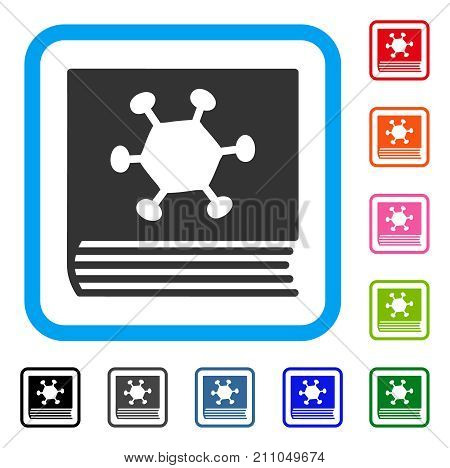 Parasite Encyclopedia icon. Flat gray iconic symbol inside a light blue rounded square. Black, gray, green, blue, red, orange color variants of Parasite Encyclopedia vector. poster