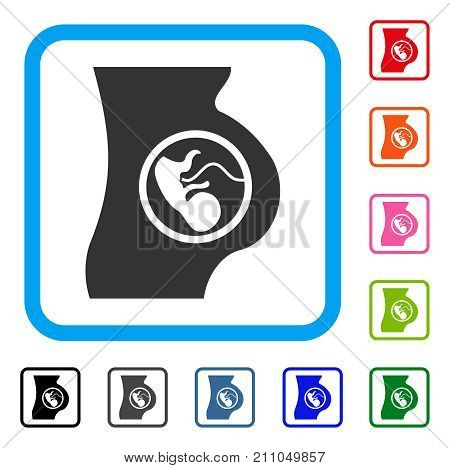 Pregnancy icon. Flat gray iconic symbol inside a light blue rounded squared frame. Black, gray, green, blue, red, orange color additional versions of Pregnancy vector.