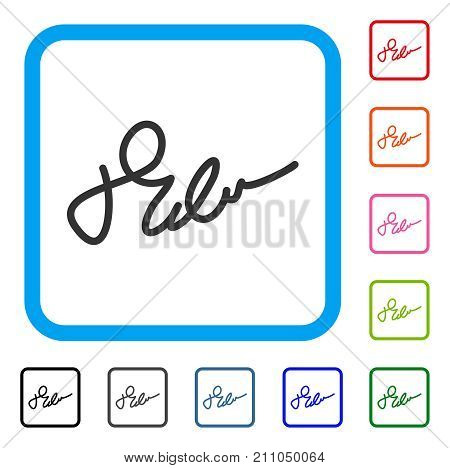 Signature icon. Flat gray pictogram symbol in a light blue rounded frame. Black, gray, green, blue, red, orange color versions of Signature vector. Designed for web and software interfaces.