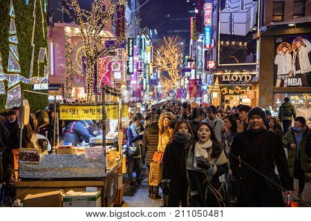 The Crowd Of People That Drives One Of The Main Streets Of Seoul During The Holiday Season