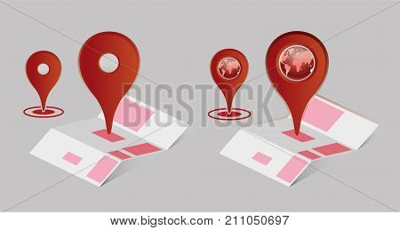 Flat map with pins. Vector location pointer icon.Travel pin location on a map