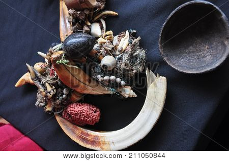 Shalow Dof Of Kombuongo Or Komburongo - String Of Wild Boar Tusk, Shellfish And Animal Tooth Use By