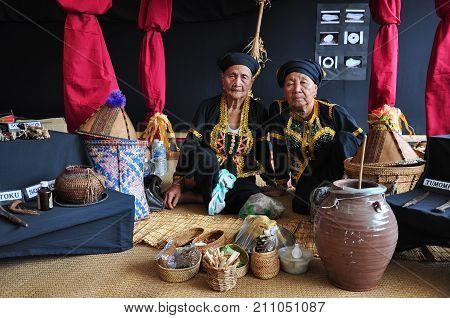 Kota Kinabalu, Malaysia - May 30, 2017: Two Bobohizan Or Bobolian Or High Priestess Or A Spirit Medi
