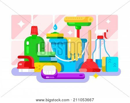 Cleaning tools and detergent in bottle flat design. Sponge and spray, mop and brush, housework and sanitary. Vector illustration