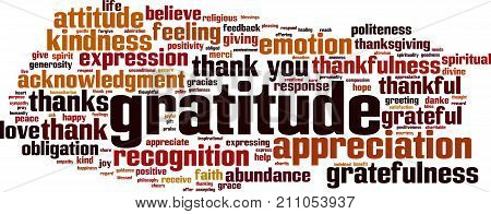 Gratitude word cloud concept. Vector illustration on white