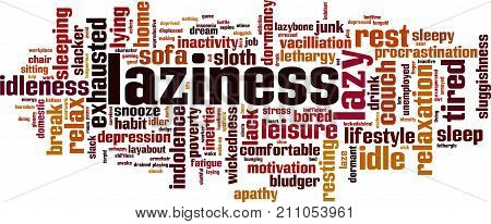 Laziness word cloud concept. Vector illustration on white