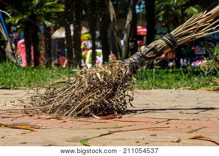 broom made from scrap materials, for cleaning streets