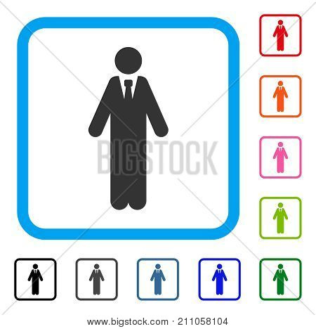 Clerk icon. Flat grey iconic symbol in a light blue rounded rectangular frame. Black, gray, green, blue, red, orange color additional versions of Clerk vector. Designed for web and app interfaces.