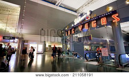 LAS VEGAS, NV - 11 OCT 2017 - McCarran International Airport (LAS), located south of the Las Vegas strip, is the main airport in Nevada. There are slot machines in the airport.