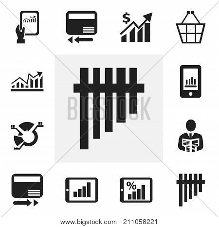 Set Of 12 Editable Analytics Icons. Includes Symbols Such As Revenue, Credit Card, Decrease And More