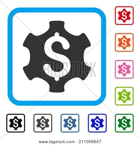 Financial Settings icon. Flat gray pictogram symbol in a light blue rounded rectangular frame. Black, gray, green, blue, red, orange color variants of Financial Settings vector.