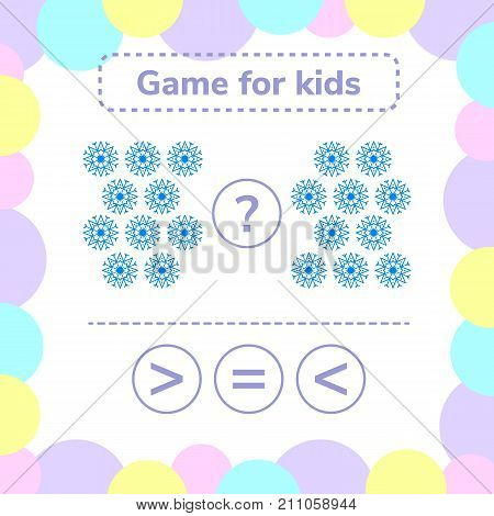 Vector illustration. Education logic game for preschool kids. Choose the correct answer. More, less or equal snowflake.