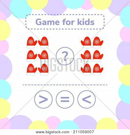 Vector illustration. Education logic game for preschool kids. Choose the correct answer. More, less or equal red mittens with snowflakes.