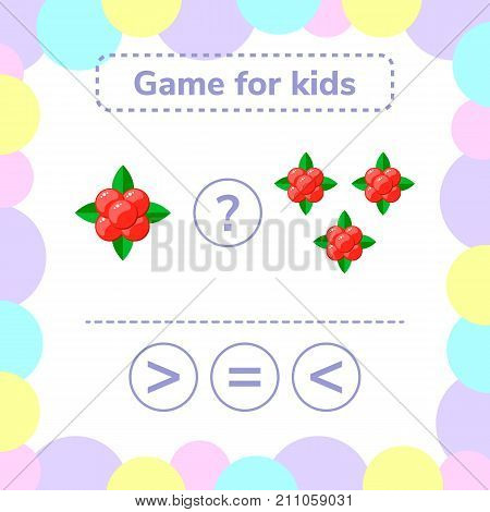 Vector illustration. Education logic game for preschool kids. Choose the correct answer. More, less or equal stone bramble.