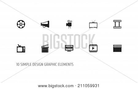 Set Of 10 Editable Cinema Icons. Includes Symbols Such As Movie Player, Clapper, The End And More